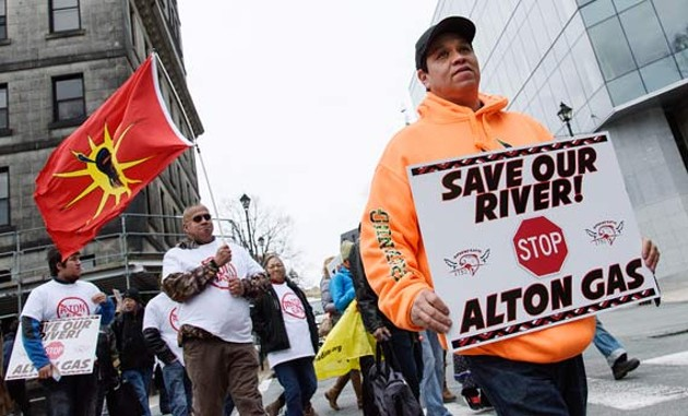 Alton Gas protesters outside Province House during this year's budget announcement. - CHRISTIAN LAFORCE