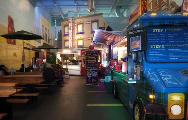 Mega murals make Truck-side's atmosphere theme park cheery.