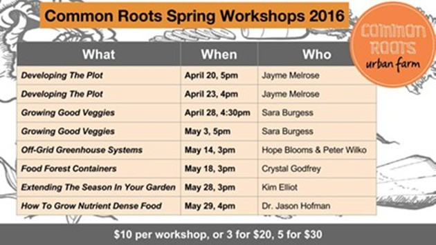 More workshops from Common Roots