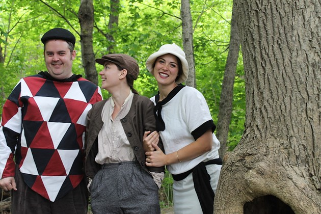 Touchstone (played by Tom Gordon Smith), Rosalind (Catherine Rainville) and Celia ( Hilary Adams) chill in As You Like It. - ANDREA HART