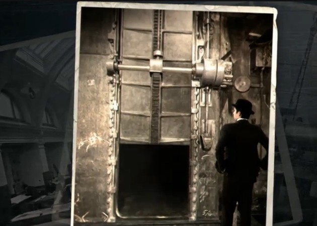 Titanic's designer inspects the water-tight bulkhead system—note the documentary's colourization of a black-and-white image. - SCREENSHOT FROM TITANIC: THE NEW EVIDENCE