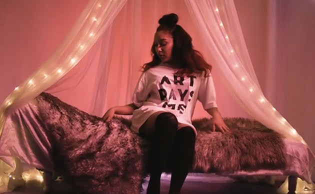 """Mikaylaa on set at the """"Right Moves"""" video shoot."""
