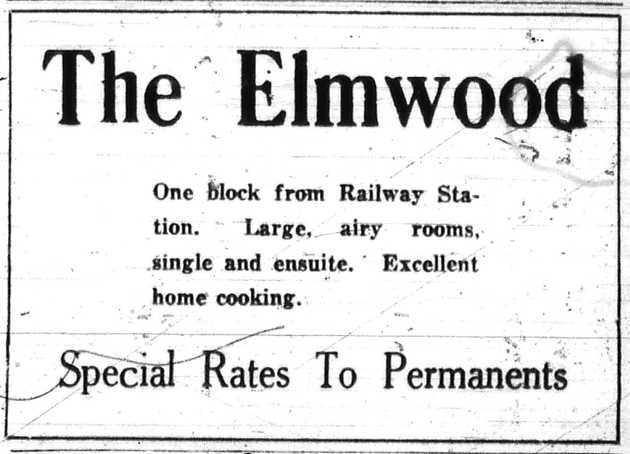 A 1921 newspaper ad for the Elmwood Hotel. - NOVA SCOTIA ARCHIVES