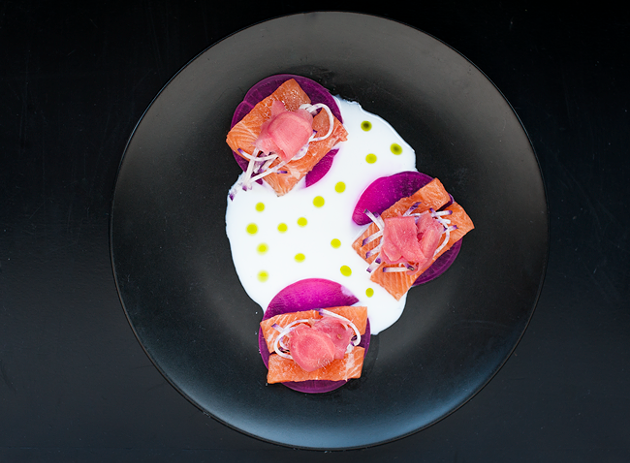 Trout crudo with pickled daikon, radish, pickled ginger, buttermilk and radish oil - JESSICA EMIN