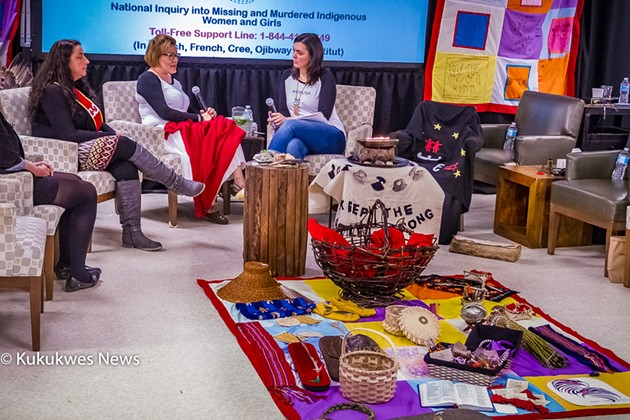 Vanessa Brooks, centre, speaks with MMIWG inquiry Commissioner Qajaq Robinson about her sister, Tanya Brooks. - STEPHEN BRAKE