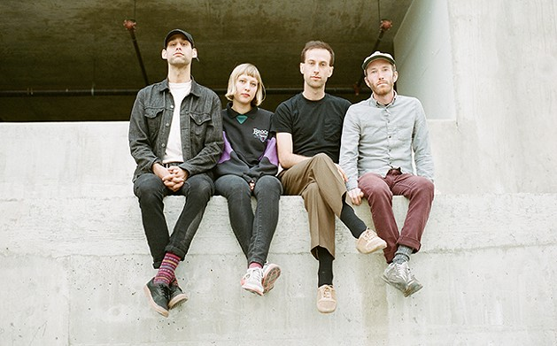 "Nick Everett (second from right) says touring is making Mauno learn ""to grow together."" - HENRY ACTESON"