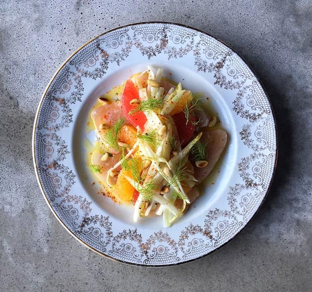 Silky raw albacore, clementine, grapefruit, endive and fennel. - ANNIE BRACE-LAVOIE