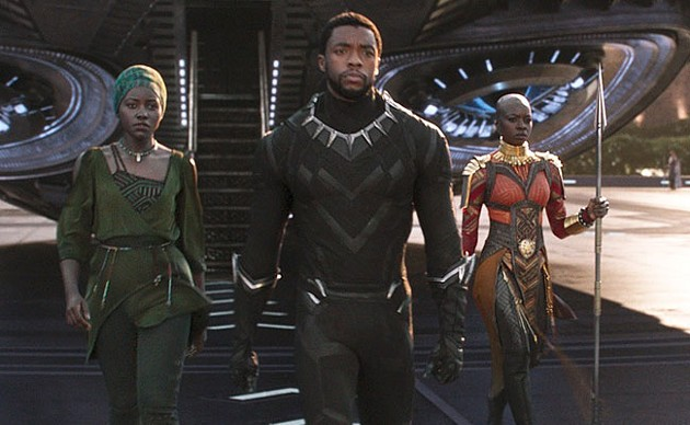 Lupita Nyong'o, Chadwick Boseman and Danai Gurira in Black Panther.