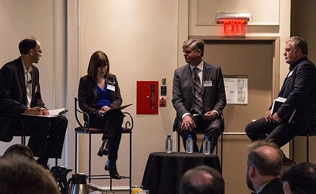 From left to right; the moderator, Saulnier, Poschmann and Morgan talk minimum wage last week in Halifax. - KIERAN LEAVITT