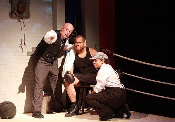Jacob Sampson (centre) wrote and stars as Sam Langford in Chasing Champions, which will close the season. - JENNIFER HARRISON