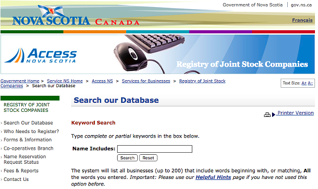 The current Web 1.0 look of the Registry of Joint Stocks. - VIA NOVA SCOTIA