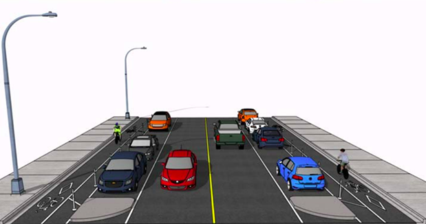 Cyclists will soon be free to travel through the south end's white void without worrying about cars. - VIA HRM