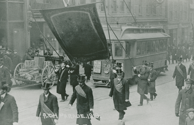 The Ancient Order of Hibernians marches in the 1919 St. Patrick's Day parade. - NS ARCHIVES
