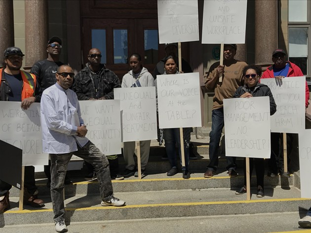 HRM employees (and social worker Raymond Sheppard) outside City Hall on Tuesday. - THE COAST
