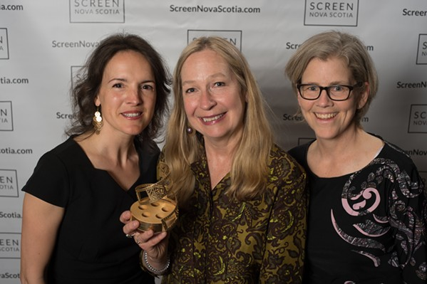 Women in Film and Television-Atlantic's Pamela Seggert and Kimberlee McTaggart with Donna Davies (centre), the first winner of WIFT-AT's Best Director award. - MICHAEL TOMPKINS