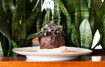 Getaway Farms steak, roasted garlic mashed potato, shallot marmalade and urban blue cheese butter - JESSICA EMIN