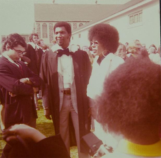 Rocky Jones graduating from Dalhousie, circa 1970, with Joan beside him. - THE JONES FAMILY