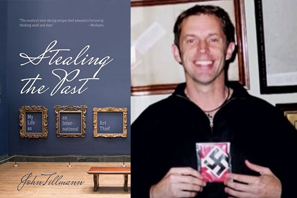 On the left, the book jacket for Stealing the Past. On the right, a photo of John Mark Tillmann holding one of his Nazi collectables. - SCREENSHOTS