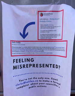 Someone put up fliers on mailboxes around Tantallon and St. Margarets Bay with Whitman's #GoGoldy tweet, a screen cap of Goldy's Wikipedia and information on how to contact the clerks' office to file an official complaint. - VIA HFX REDDIT