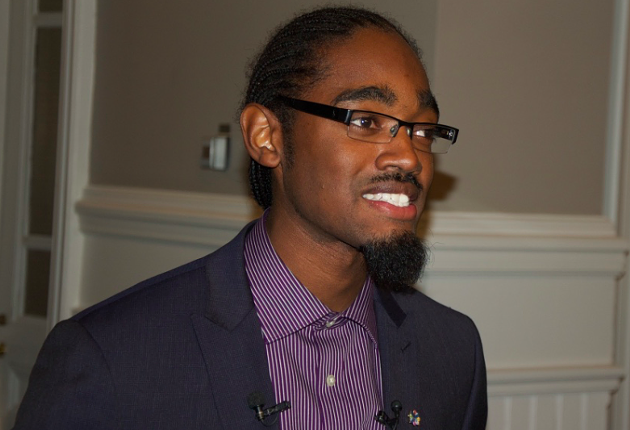 Lindell Smith, speaking to reporters at City Hall. - THE COAST