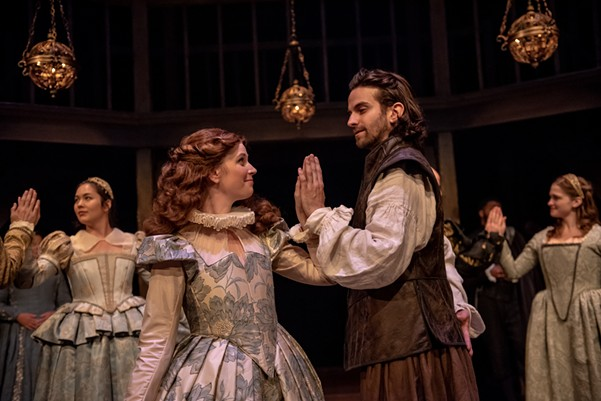Sarah English as Viola and Allister MacDonald as Will in Shakespeare in Love. - NEPTUNE THEATRE