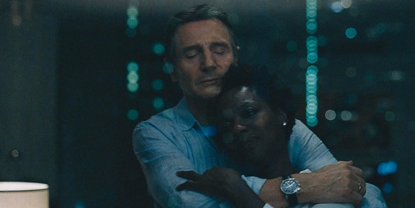 Neeson and Davis in a rare happy reflection.