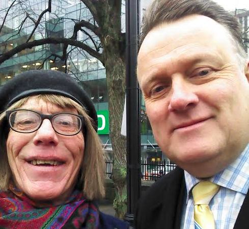Laura and mayor Mike Savage before the flag-raising on TDOR. - LAURA SHEPHERD