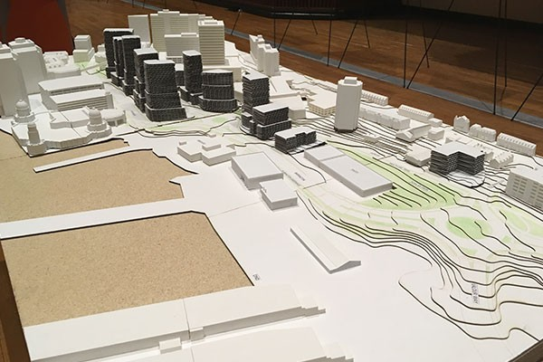 A very-white model of the downtown with the new Cogswell district in place. - SANDRA C. HANNEBOHM