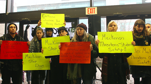 """Students use free expression to protest Dal hiring """"free speech"""" advocate Peter MacKinnon. - ASHLEY CORBETT"""