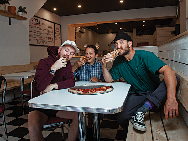 Josh Nordin, Sal Mosca and Dean Petty with extra cheese. - LENNY MULLINS