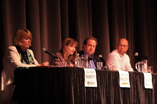 Jo-Ann Roberts, Christine Saulnier, Bruce Holland and Andy Fillmore at the all candidates debate on women's rights and gender equity. - SHERRY COSTA