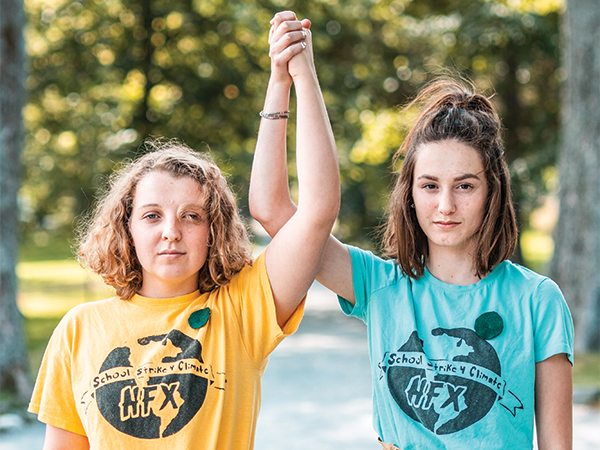 Willa Fisher (left) and Julia Sampson organized the first Fridays for Future strike. - DANIEL DOMINIC