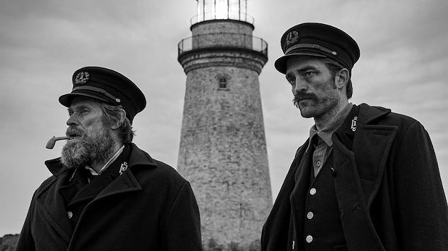 Willem Dafoe and Robert Pattinson stare into the abyss in The Lighthouse. - FILM STILL VIA FINFESTIVAL.COM