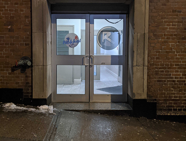 This classic Halifax entrance gets a ⭐⭐⭐💫 rating. A not-so-safe entrance loses half a star but the washroom, dancefloor and bar are all accessible, once you're inside. - THE COAST
