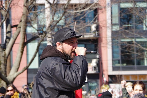 """""""There is only one path out of this struggle and that is stopping CGL pipeline, and removing the RCMP from the Wet'suwet'en territory"""" said Darius Mirshahi. - MIRA DIETZ CHIASSON"""