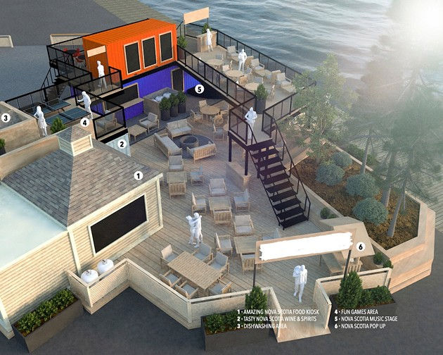 A concept illustration of the new wine bar, which will be beside Stubborn Goat Beer Garden on the boardwalk. - SUBMITTED