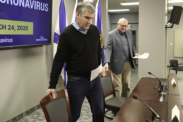 The pandemic duo arrives at Tuesday's COVID-19 briefing. - COMMUNICATIONS NOVA SCOTIA
