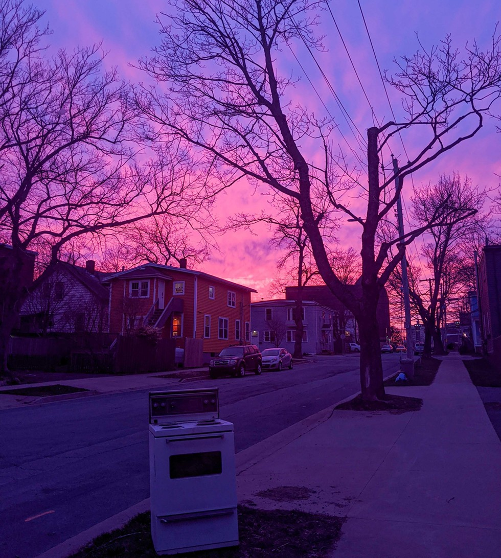 A pink sky for Nova Scotia on Monday April 20, just as neighbours were lighting candles on their front steps for their grief and for each other. - CAORA MCKENNA