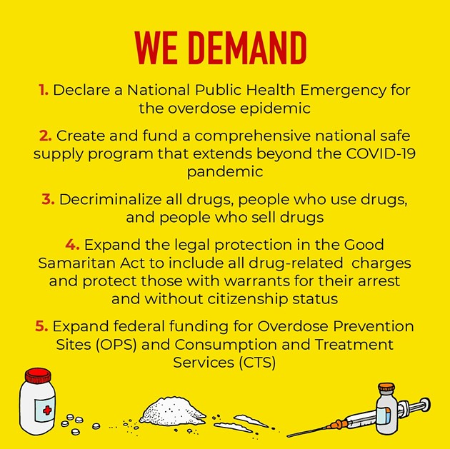 Thursday April 30 is the National Day of Action on the Overdose Crisis 2020, organizers have five demands.