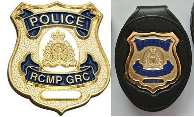 A real badge that was reported missing by HRP in April (left) vs. a fake badge being sold online (right). - NS RCMP/FACEBOOK