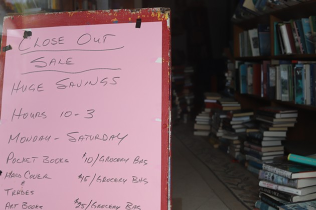 A sign inside The Last Word for a close-out sale that hasn't happened yet - VICTORIA WALTON