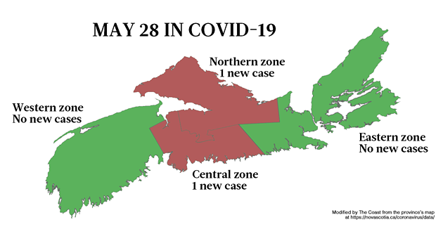 Map of where the new COVID-19 cases are in Nova Scotia on May 28, by the NSHA zones.