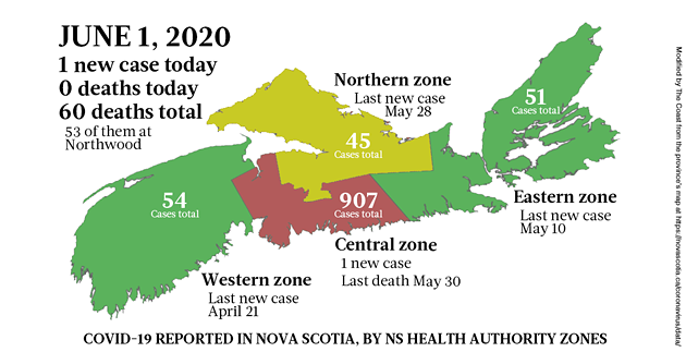 Map of COVID-19 cases in Nova Scotia as of June 1, 2020.