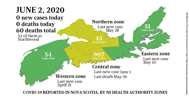Map of COVID-19 cases in Nova Scotia as of June 2, 2020.