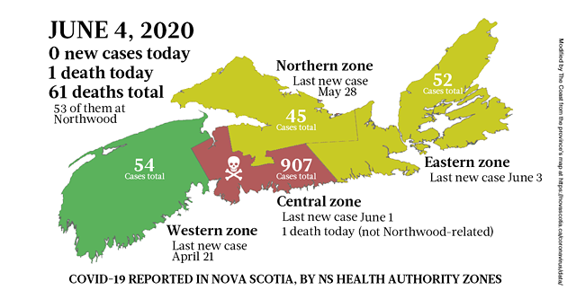 Map of COVID-19 cases in Nova Scotia as of June 4, 2020.