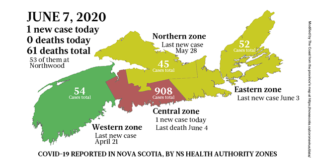 Map of COVID-19 cases in Nova Scotia as of June 7, 2020. - THE COAST