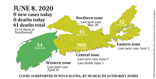 Map of COVID-19 cases in Nova Scotia as of June 8, 2020. - THE COAST
