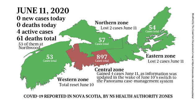 Map of COVID-19 cases in Nova Scotia as of June 11, 2020. - THE COAST