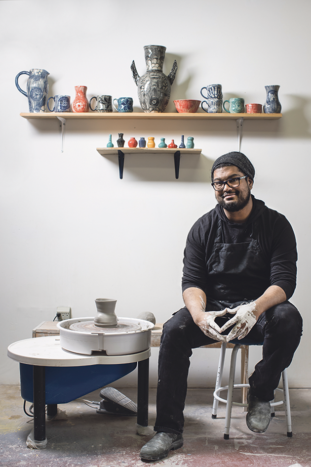 Kaashif Ghanie was a 2019 Centre For Art Tapes Media Scholar, where he learned how to incorporate sound into his pottery-meets-sculpture practice. - MEGHAN TANSEY WHITTON