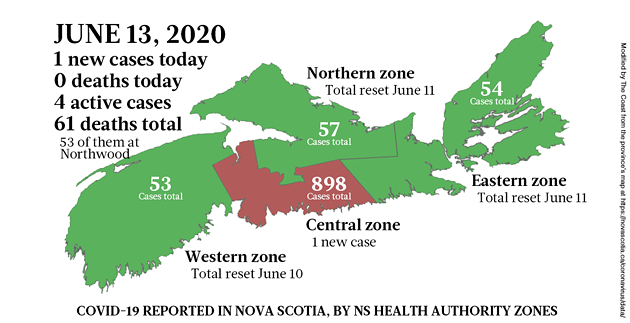 Map of COVID-19 cases in Nova Scotia as of June 13, 2020. - THE COAST